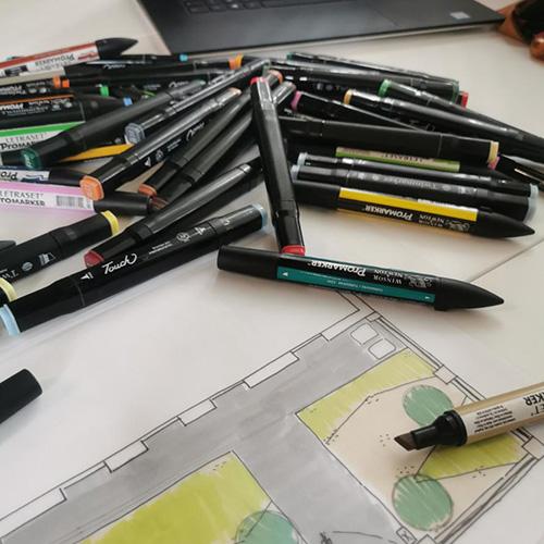 Croquis de présentation de dessin paysager